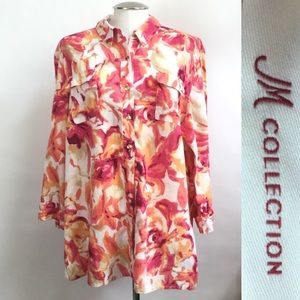 Colorful Flowery JM Collection 3/4 Sleeve Top (A)